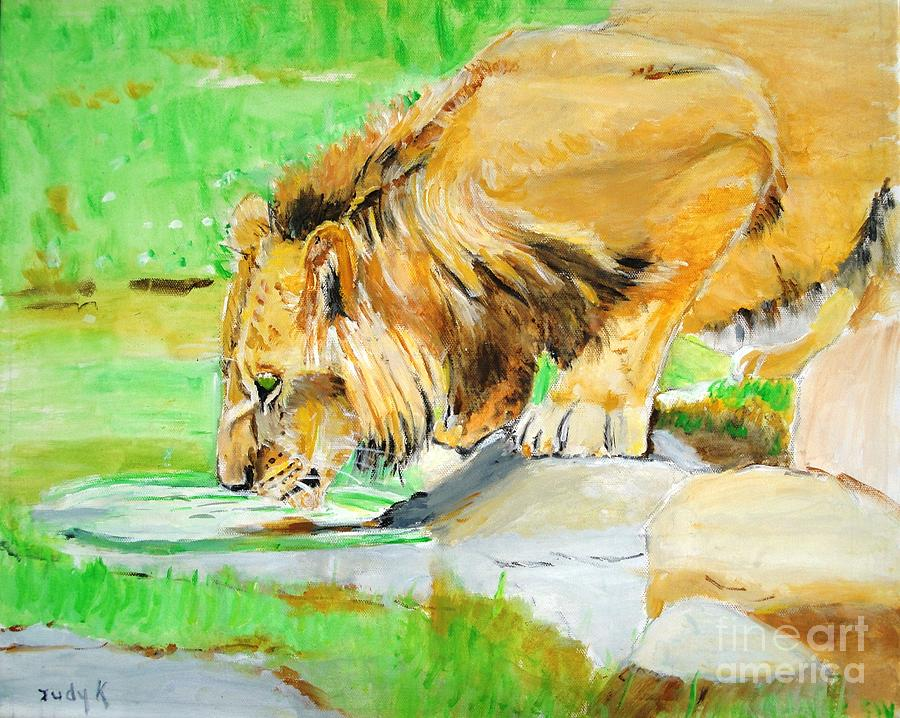 Lion Painting - The Paws That Refreshes by Judy Kay
