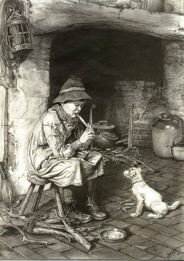 Penny Whistle Player Drawing - The Penny Whistle by Ronald Osborne