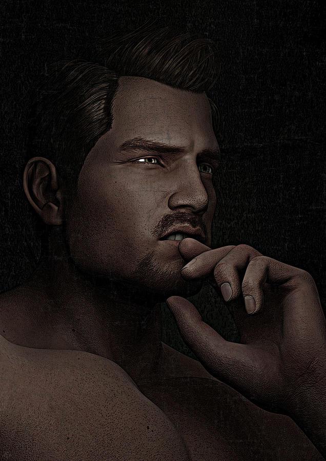 Digital Portrait Digital Art - The Pensive Man - Cracked Colour by Maynard Ellis