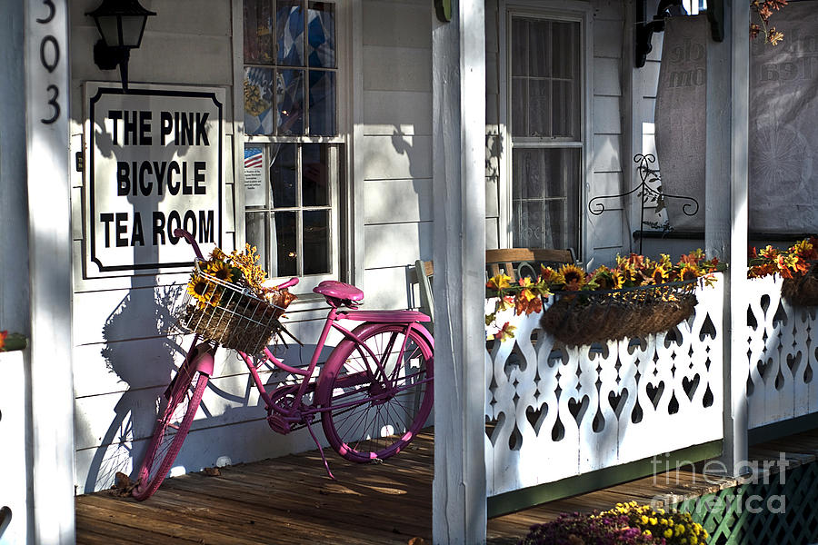 Charm Photograph - The Pink Bicycle Tea Room by Jane Brack