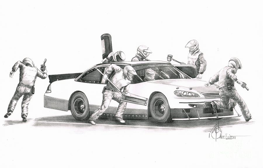 Pencil Drawing - The Pitts  by Murphy Elliott