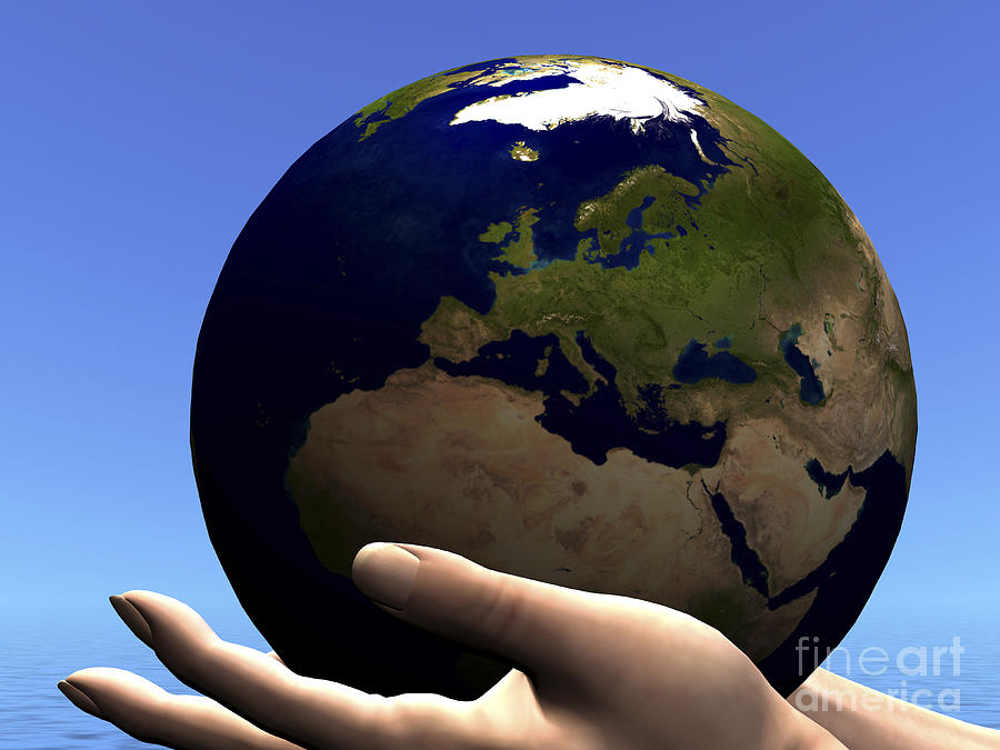 Hands Digital Art - The Planet Earth Is Held In Caring by Corey Ford