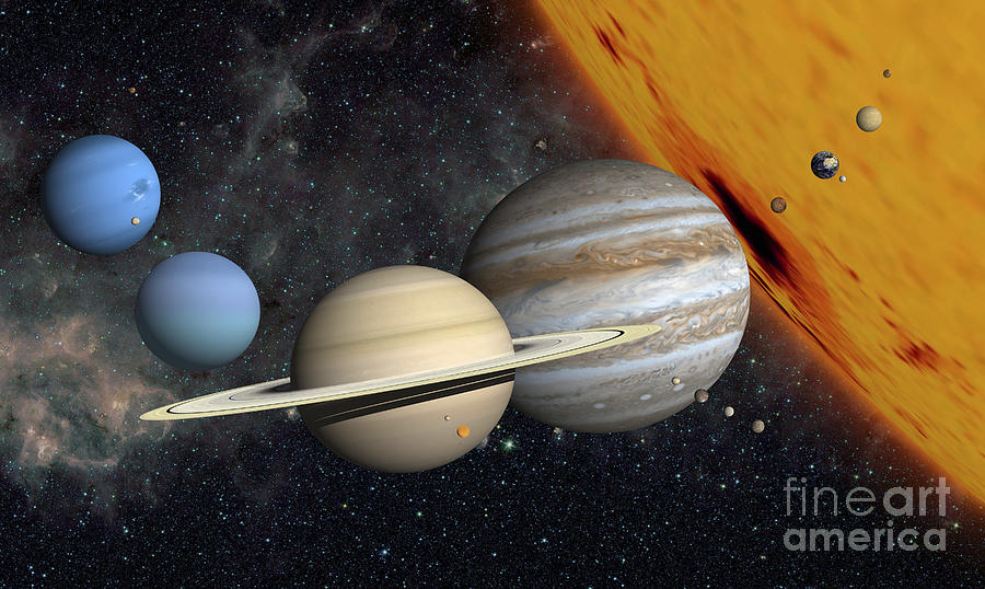 The Planets And Larger Moons To Scale Digital Art by Ron ...