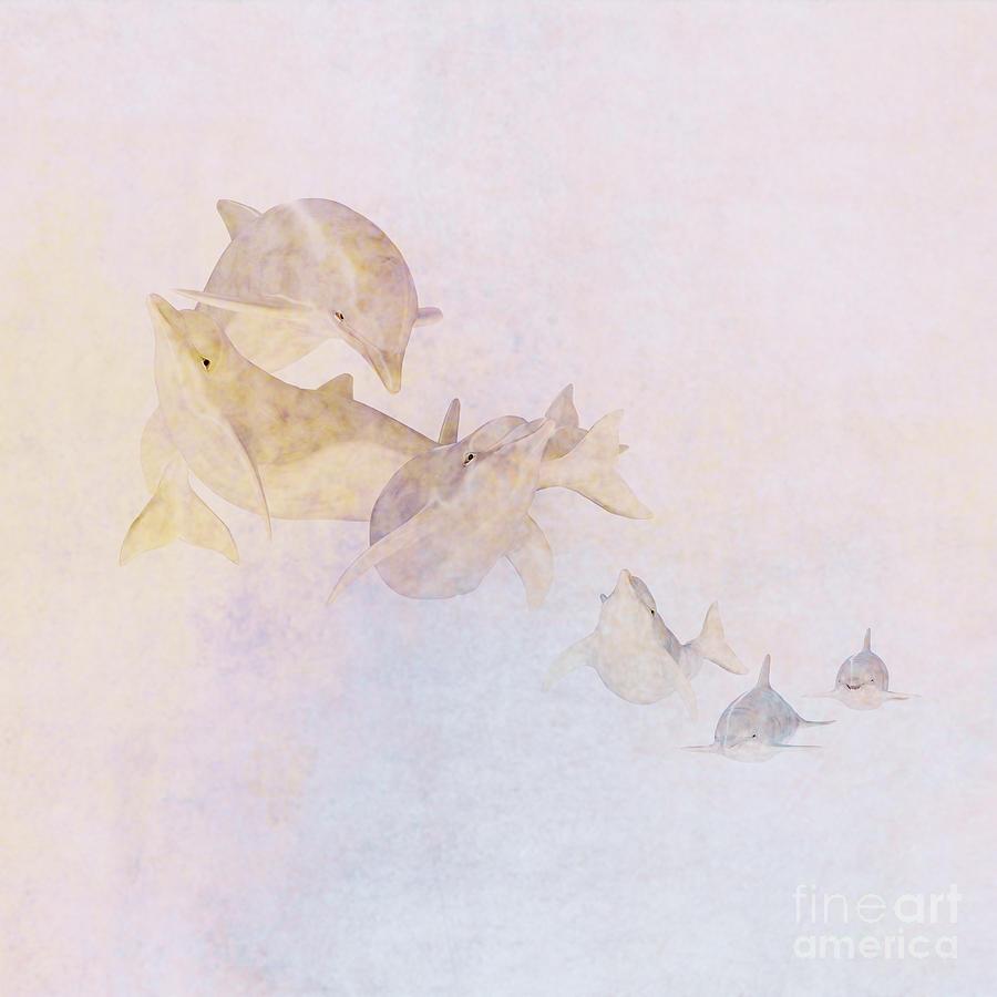 Dolphin Digital Art - The Pod by John Edwards