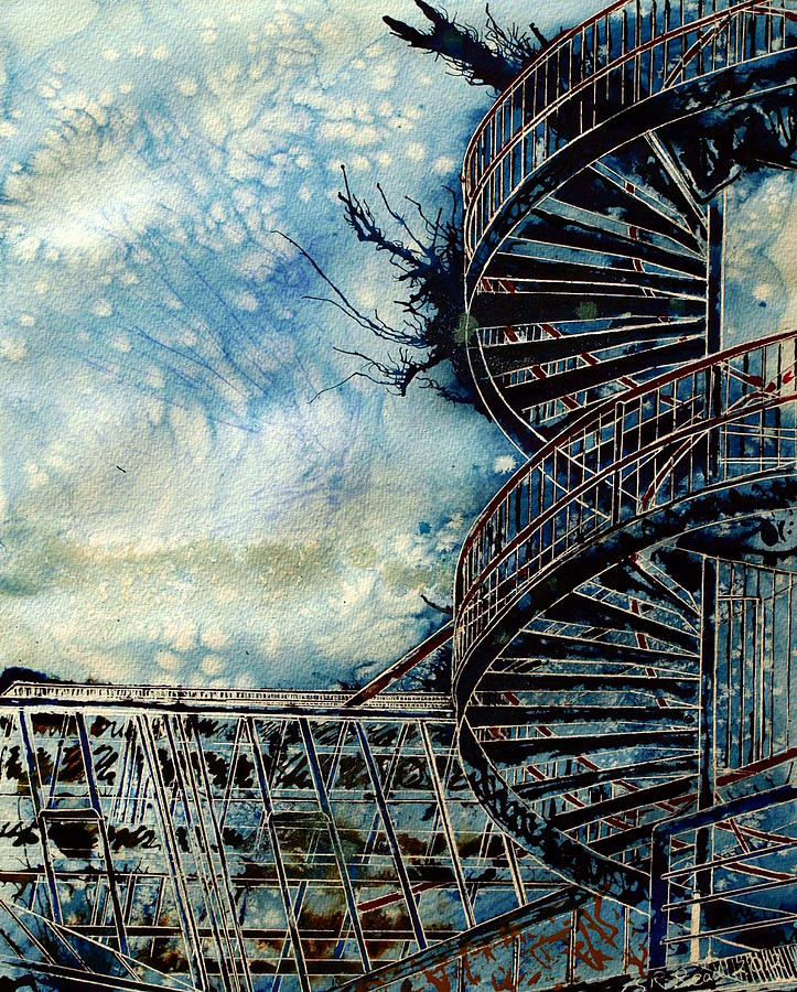 Architecture Painting - The Point Of Steps by Cathy S R Read