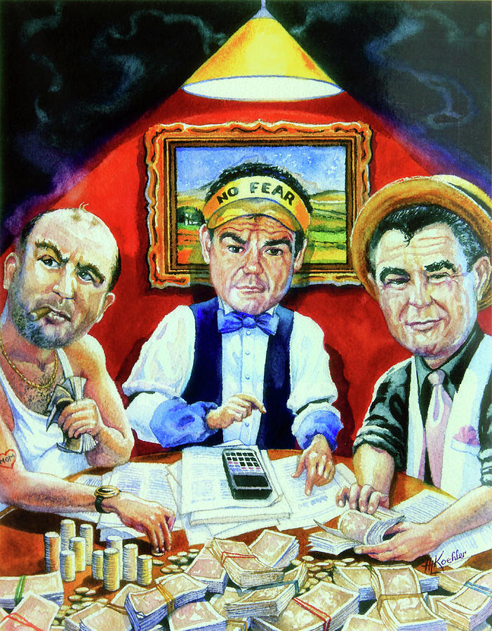 Caricature Art Caricatures Painting - The Poker Game by Hanne Lore Koehler