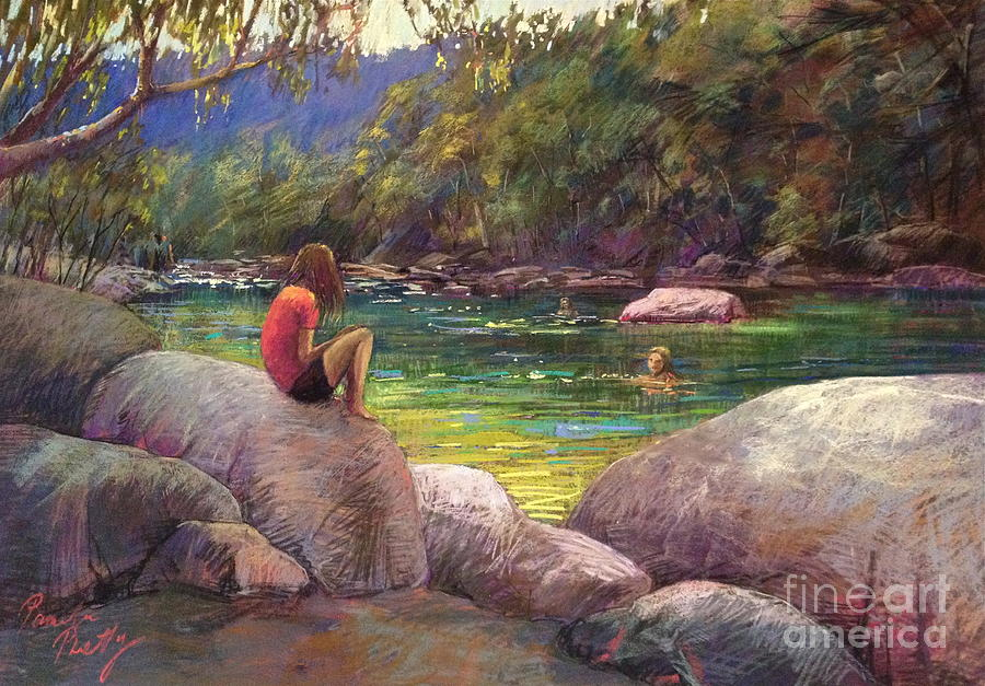 River Painting - The Pool by Pamela Pretty