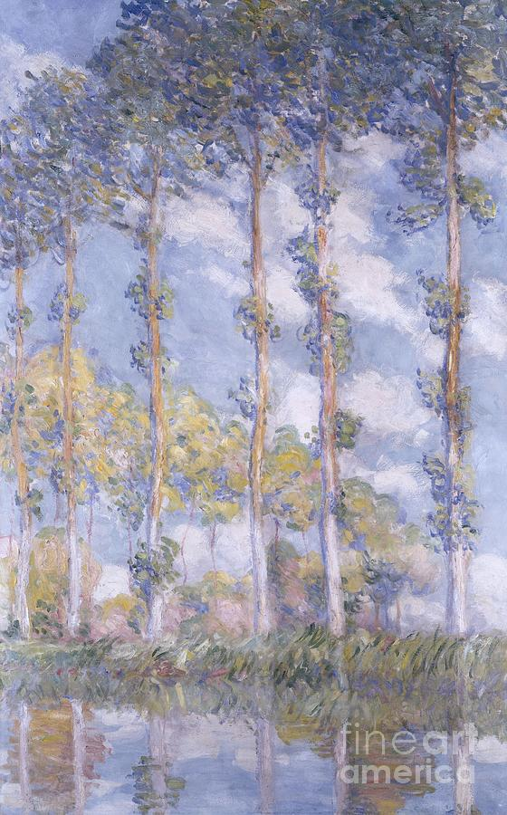Impressionism; Impressionist; Landscape; Tree; River; Water; Reflection; Bank; The Poplars Painting - The Poplars by Claude Monet