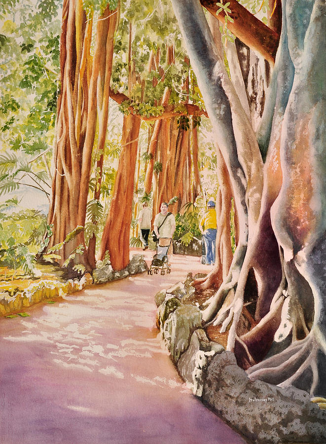 Pinecrest Gardens In South Florida (formerly Parrot Jungle) Has One Of The Largest Banyan Trees In Florida. A Person Can Walk Through The Tree With Its Massive Roots Reaching Far Across The Grounds. It Is One Of My Favorite Painting Subjects Painting - The Power Of The Banyan by Terry Arroyo Mulrooney