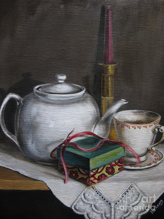 Tea Pot Painting - The Present by Patricia Lang