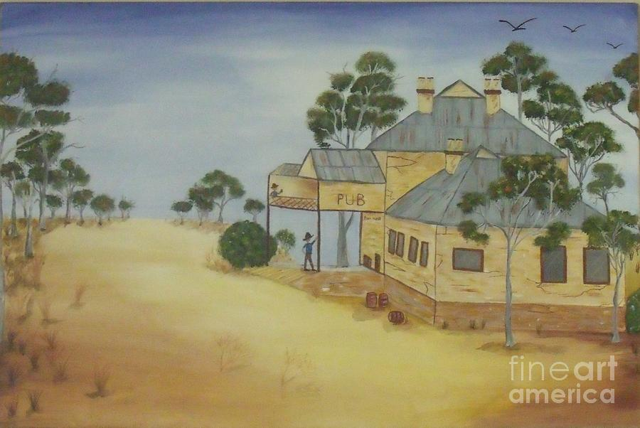 Landscape Painting - The Pub by Debra Piro
