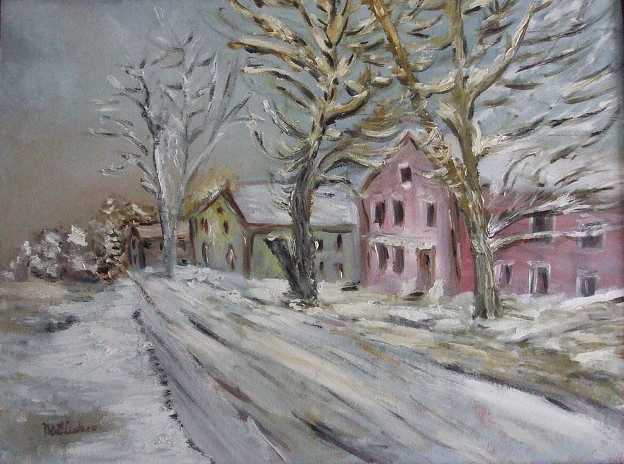 Landscape Painting - The Purple House by Michel Croteau