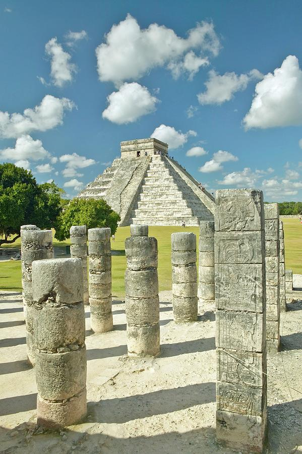 Vertical Photograph - The Pyramid Of Kukulkan, (also Known As El Castillo), A Mayan Ruin, As Seen From The Thousand Columns (foreground), Chichen Itza, Mexico by VisionsofAmerica/Joe Sohm