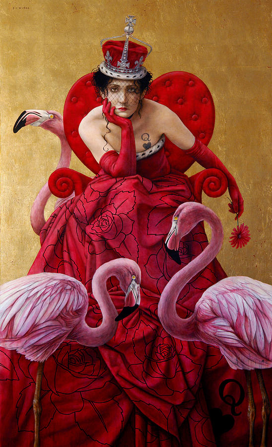 Alice Painting - The Queen Of Hearts From Alice In Wonderland by Jose Luis Munoz Luque