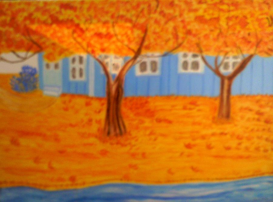 Autumn Landscape Painting - The Rays On Autumn by Annette Stovall