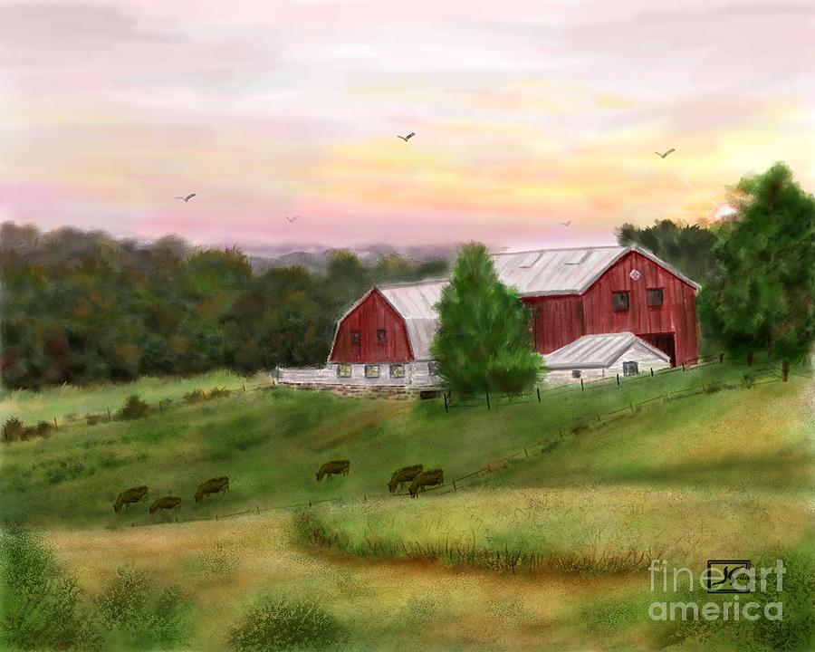 Red Barn Painting - The Red Barn At Sunset by Judy Filarecki