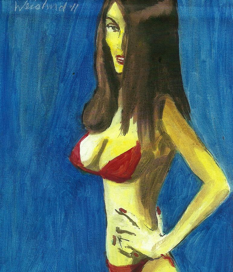 Erotic Painting - The Red Bikini  3D by Harry WEISBURD