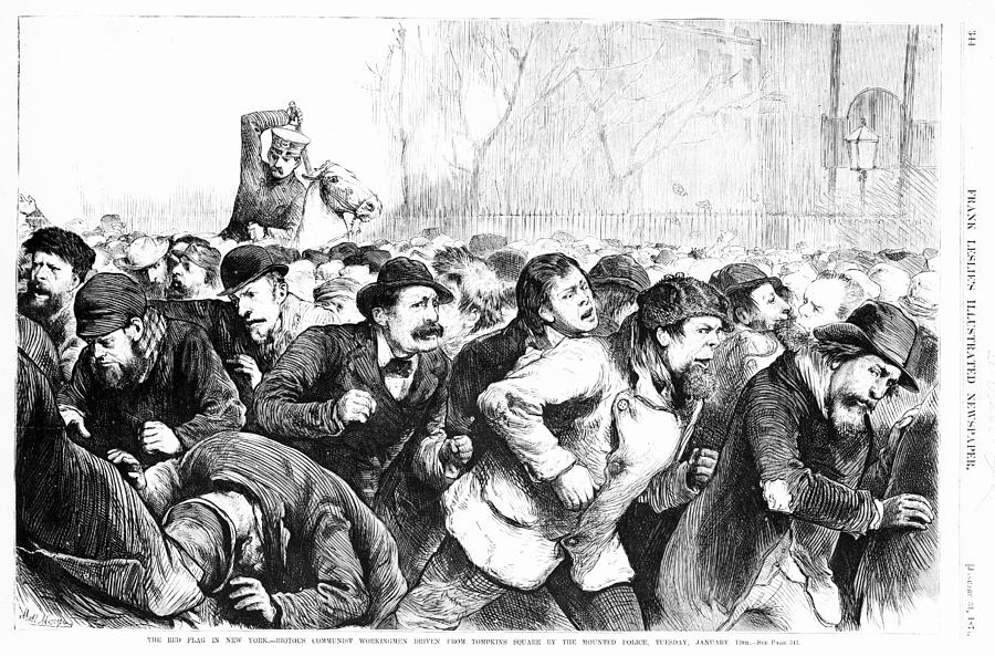 1870s Photograph - The Red Flag In New York - Riotous by Everett