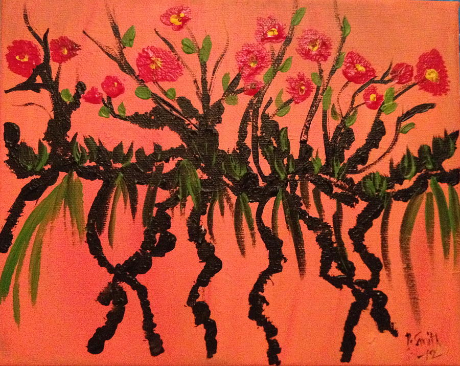 Flowers   Painting - The Red Flowers By Sunset by Pretchill Smith