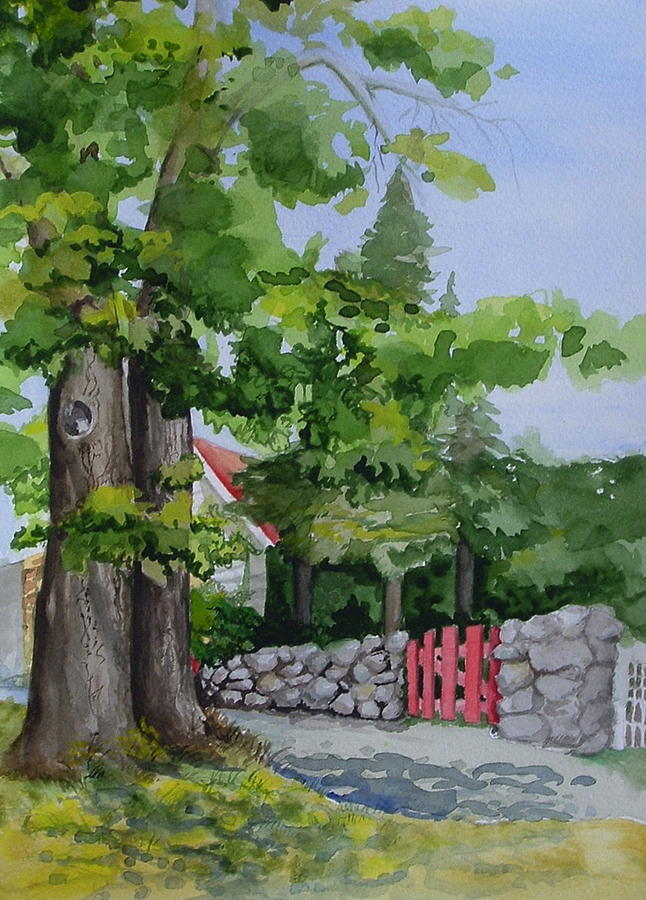 Beaver Island Painting - The Red Gate by Judi Nyerges