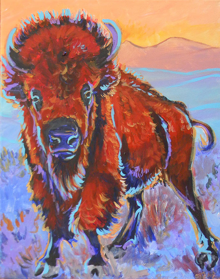 Bison Painting - The Red King by Jenn Cunningham