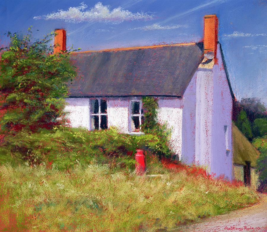 House; Rural; Countryside; Garden; Exterior; Lait; Country Cottage; Summer; Tree; Trees; Milk Churn; Red; Grass; Grassy; Bush; Bushes; Cottage; Windows; Chimney; Chimneys; Cloud; Clouds Painting - The Red Milk Churn by Anthony Rule