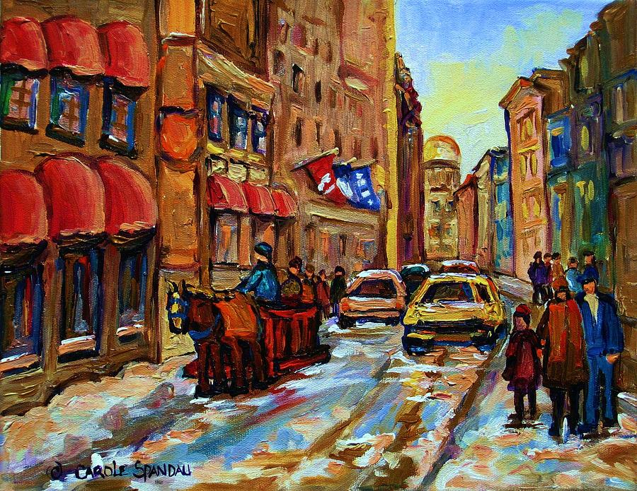 Horses Painting - The Red Sled by Carole Spandau