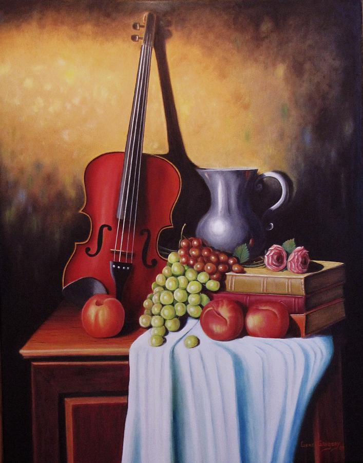 Still Life Painting - The Red Violin by Gene Gregory