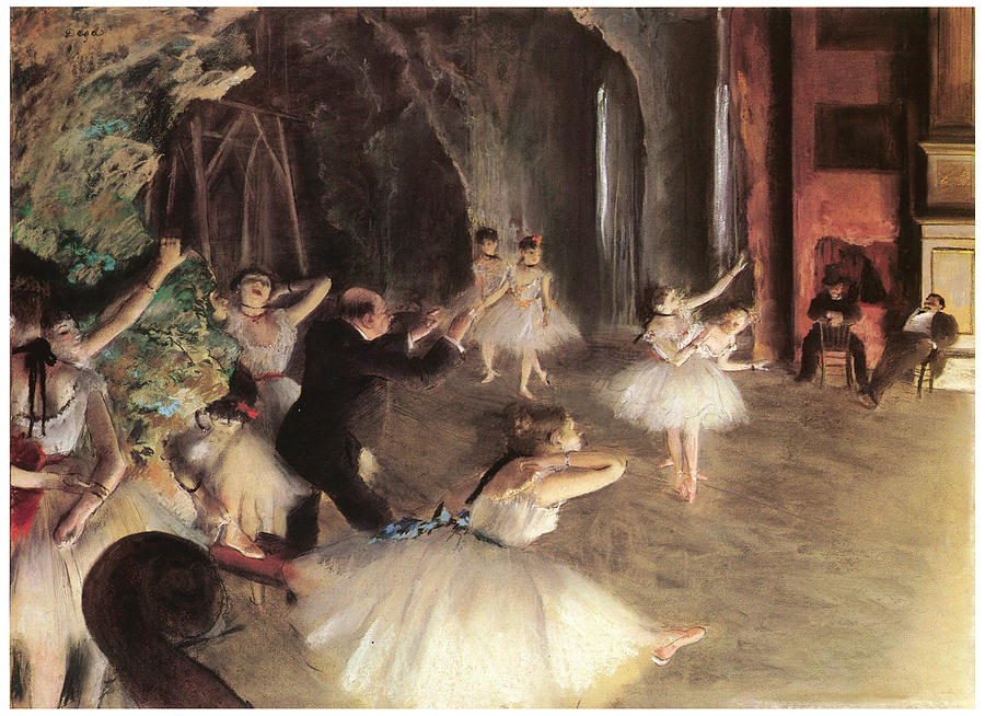 The Rehearsal On The Stage Painting - The Rehearsal On The Stage by Edgar Degas