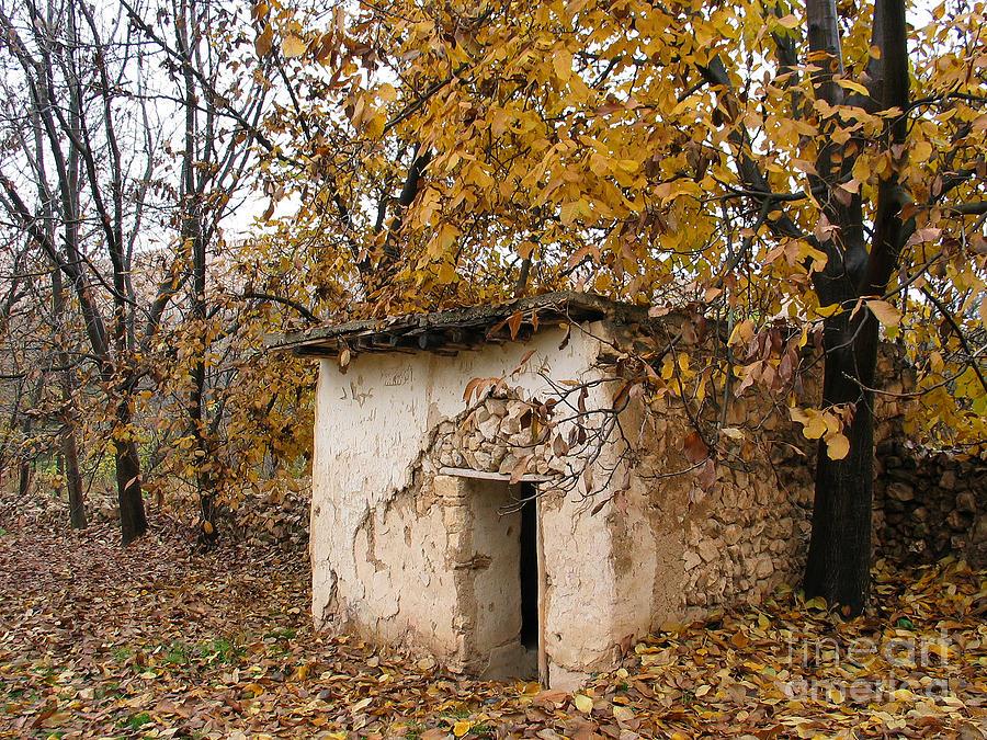 Hut Photograph - The Remote Autumn Hut by Issam Hajjar