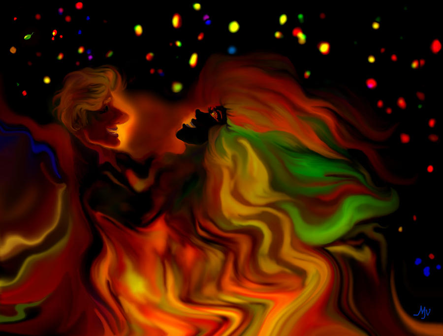 Dancers Digital Art - The Revellers by Mathilde Vhargon