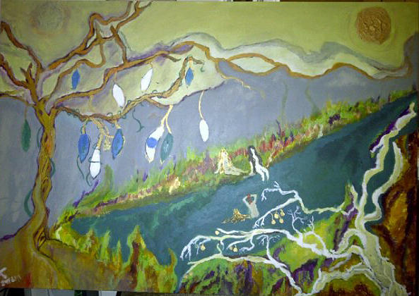 The Two Moons Painting - The River by Jasmin Jumah