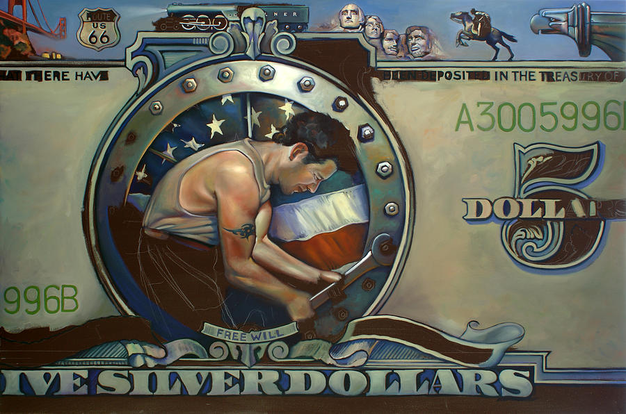Stars And Stripes Painting - The Road To Serfdom Wip by Patrick Anthony Pierson