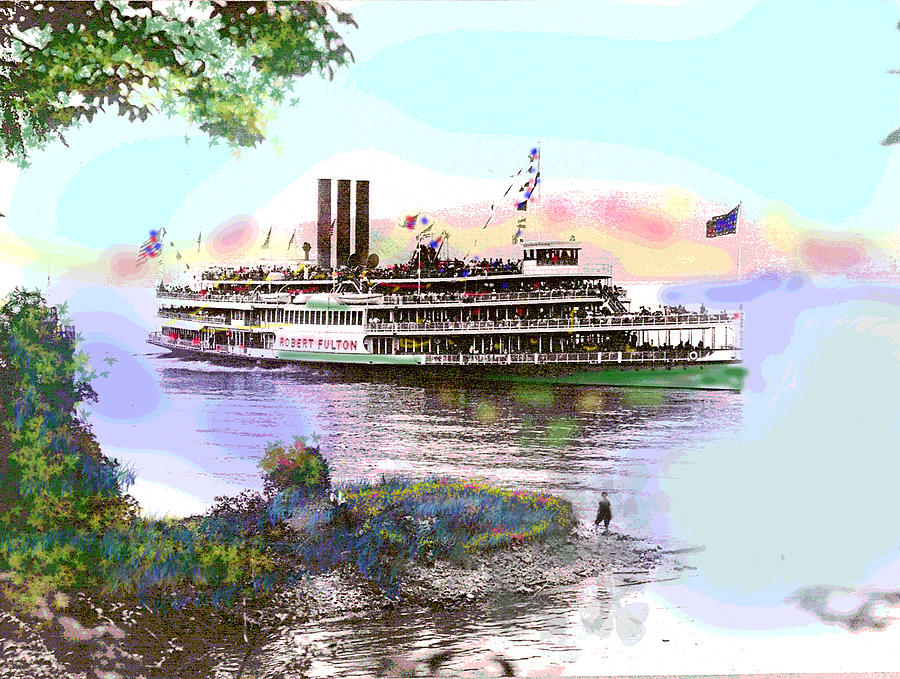 Steam Boat Mixed Media - The Robert Fulton by Charles Shoup