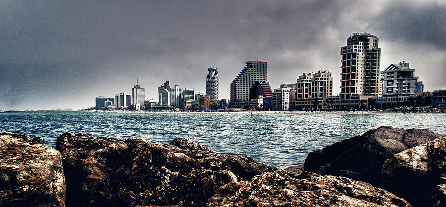 Tel Aviv Photograph - The Rocks_the Sea_the City by Amr Miqdadi