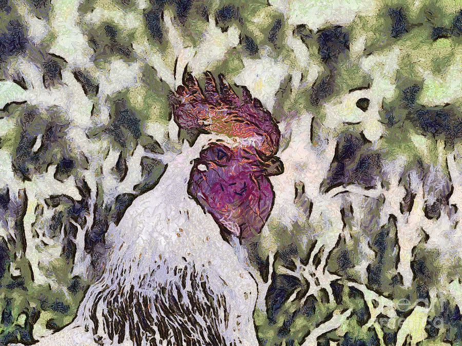 Nature Painting - The Rooster Portrait by Odon Czintos