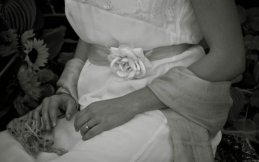 Black And White Photograph - The Rose And Her Ring by Robin Robinson