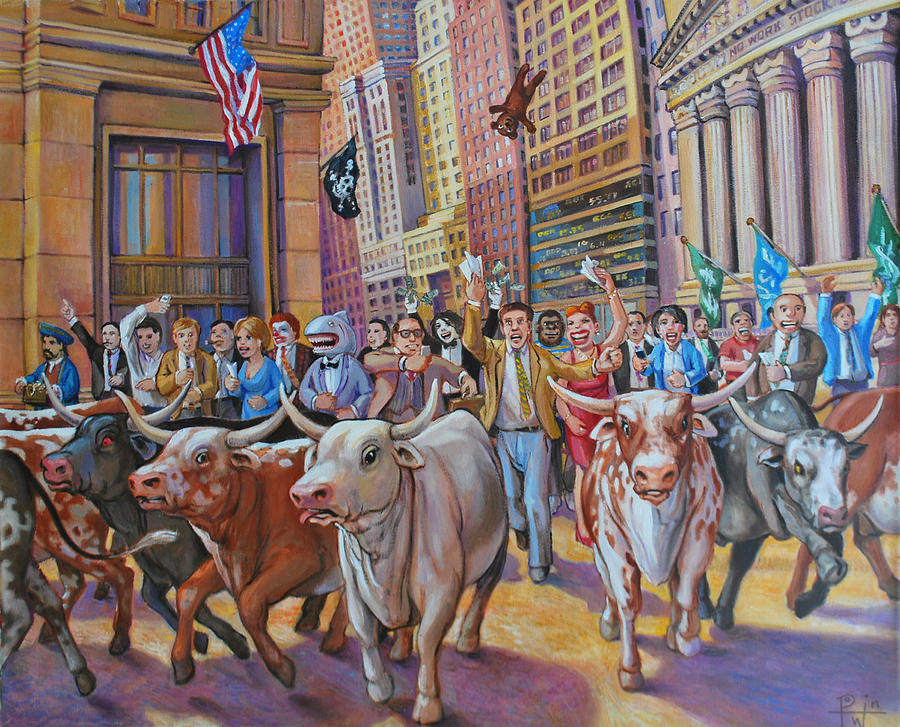 Bulls Painting - The Running Of The Bulls by Henry David Potwin