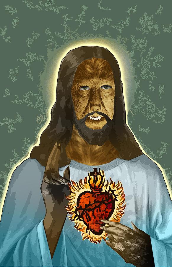 Jesus Digital Art - The Sacred Heart Of Wolfman Jesus by Travis Burns