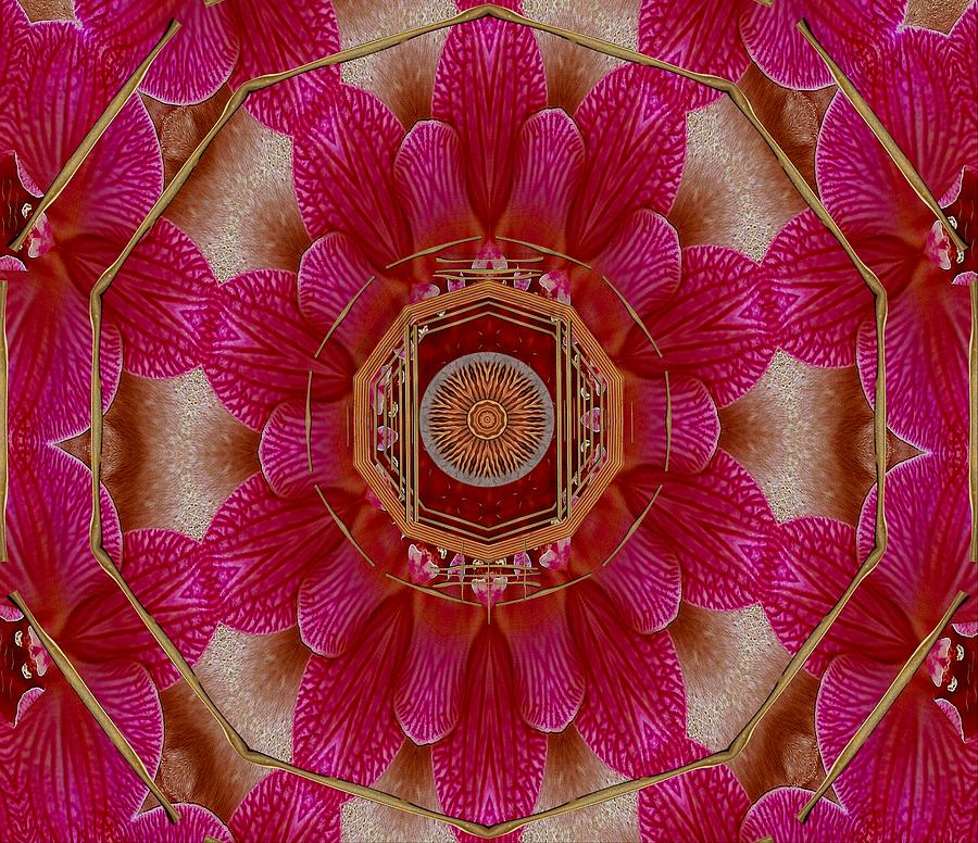 Mandala Mixed Media - The Sacred Orchid Mandala by Pepita Selles