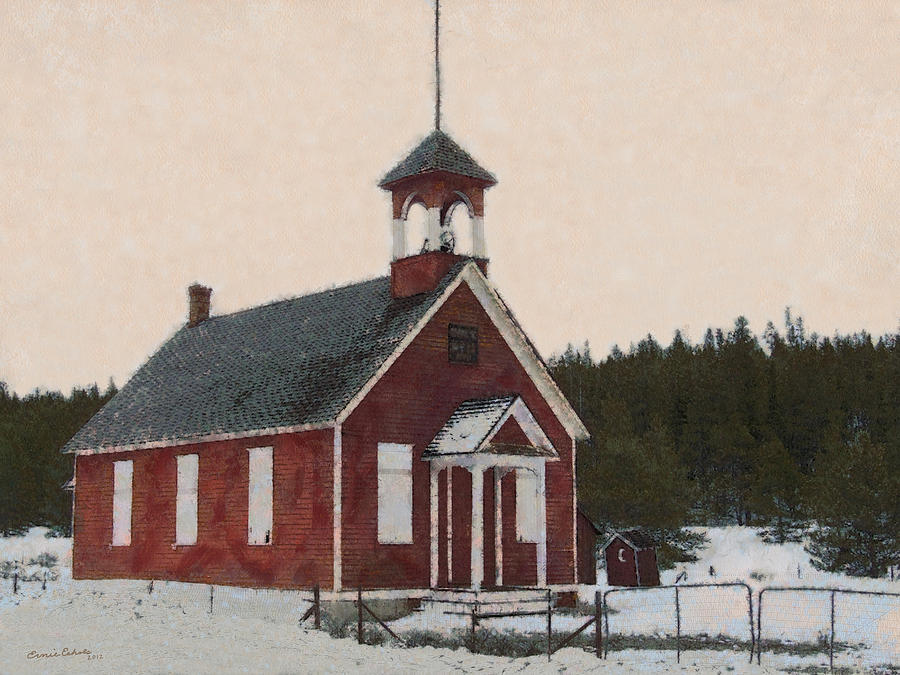 School House Digital Art - The School House Painterly by Ernie Echols