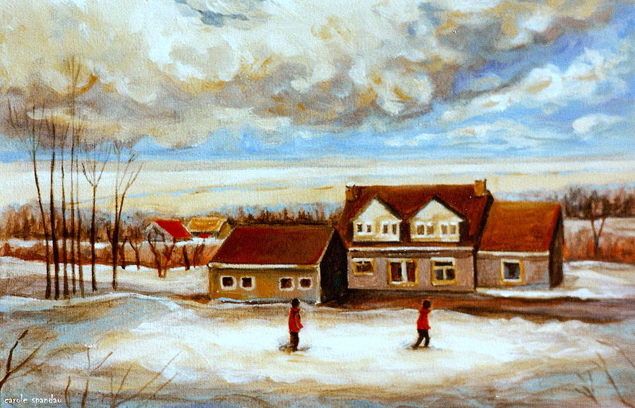 Quebec Painting - The Schoolhouse Winter Morning Quebec Rural Landscape by Carole Spandau