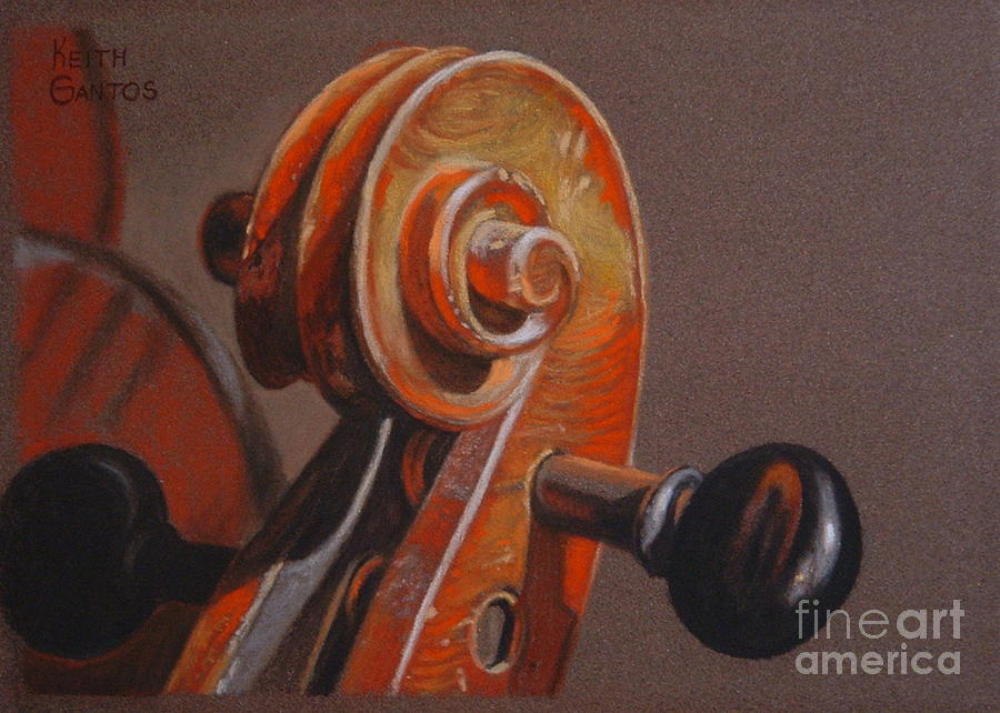 Violin Pastel - The Scroll and Pegs by Keith Gantos