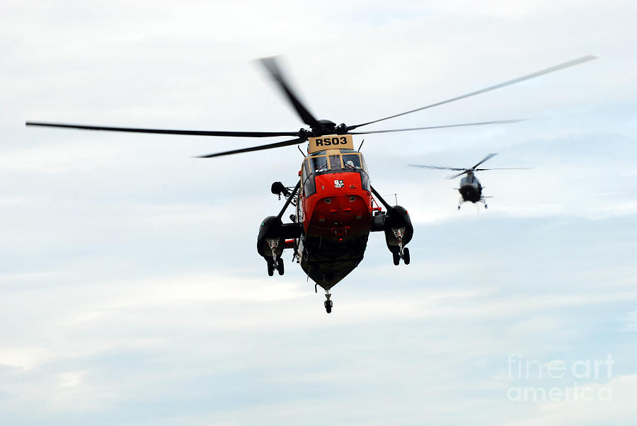 A109 Photograph - The Sea King Helicopter And The Agusta by Luc De Jaeger