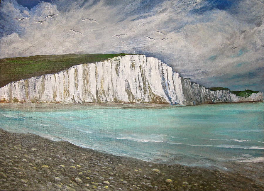 Landscape Painting - The Seven Sisters by Heather Matthews