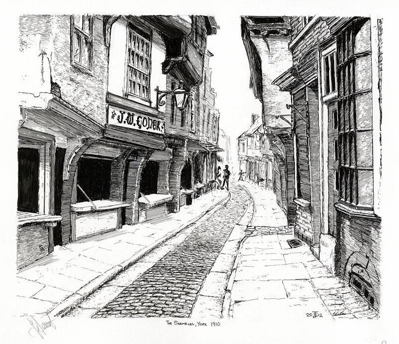 The Shambles Drawing - The Shambles  York England by John Simlett