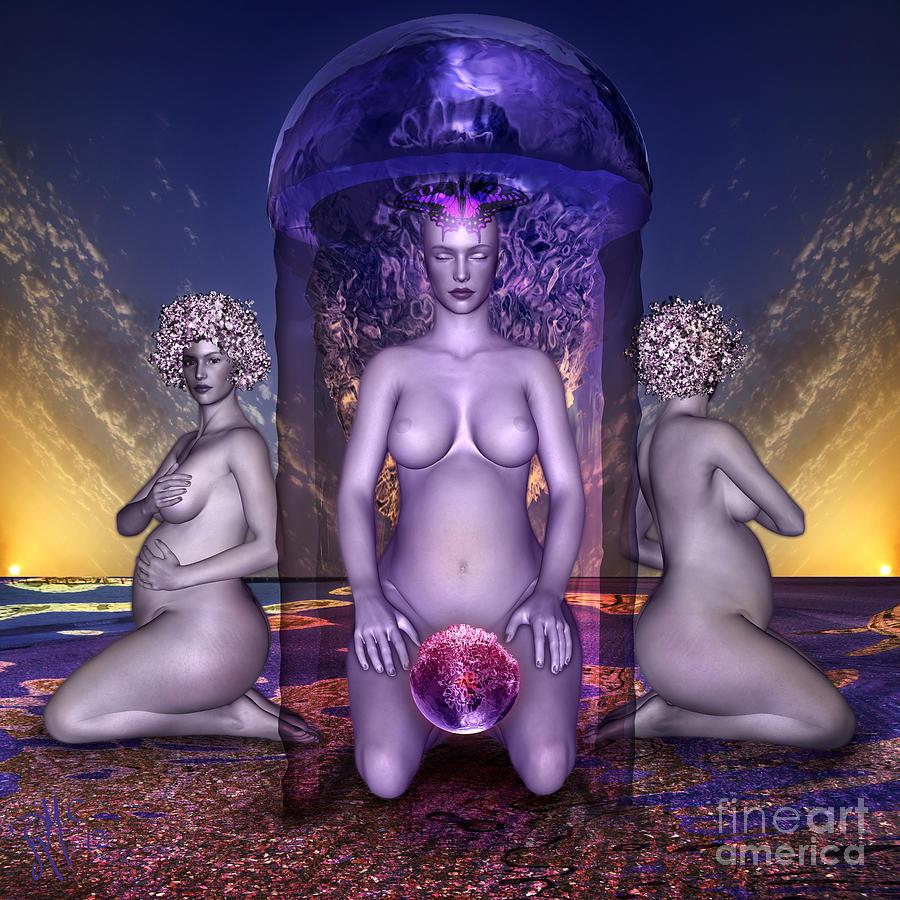 Womanhood Digital Art - The Shrine Of Life by Rosa Cobos