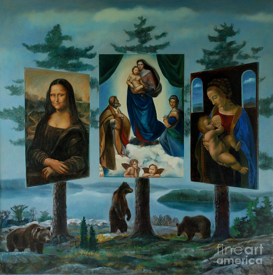 Bear Painting - The Shrine Of Three Bears by Jukka Nopsanen