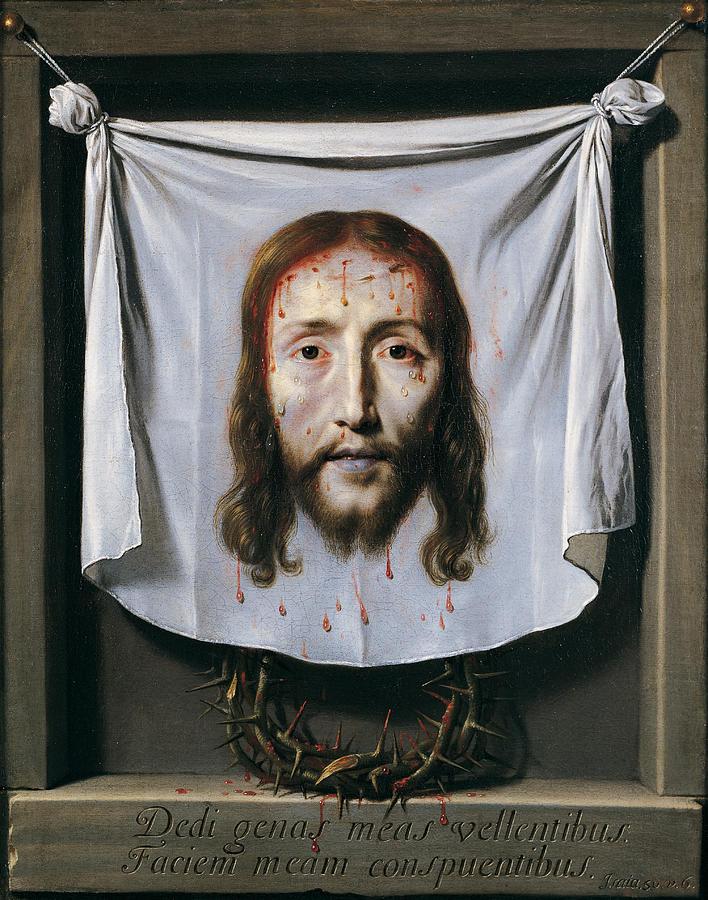 Shroud Painting - The Shroud of St Veronica by Philippe de Champaigne