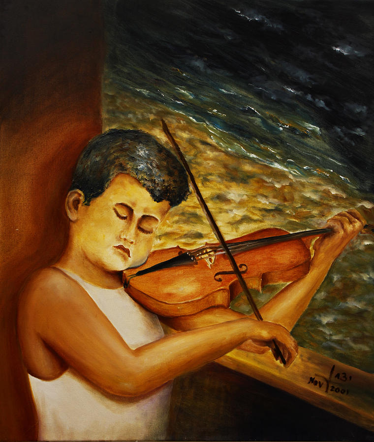 A Man Painting - The Sound Of Music by Itzhak Richter